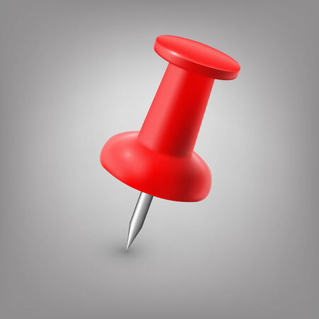 push pin: Red push pin isolated.