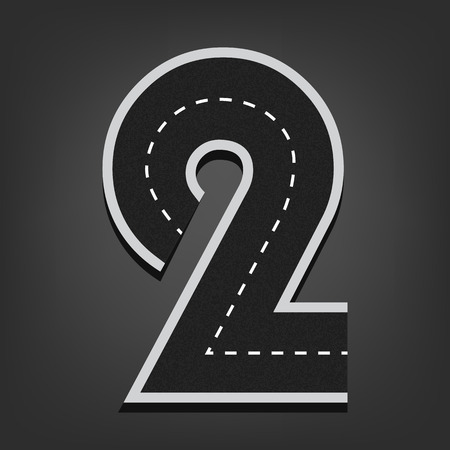 Two number. Road font.