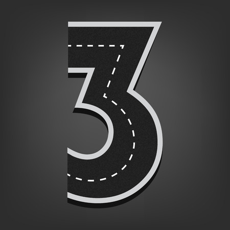 open type font: Three number. Road font.