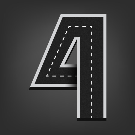 open type font: Four number. Road font.