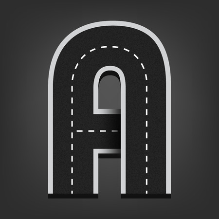 road surface: A letter. Road font.