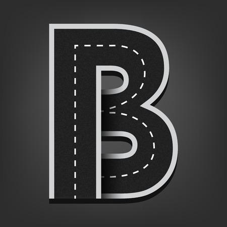 road surface: B letter. Road font. Illustration
