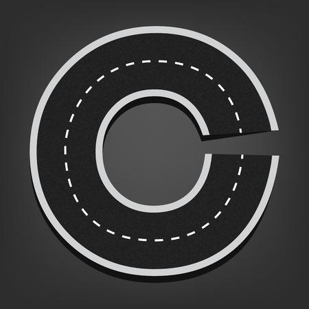 C letter. Road font.