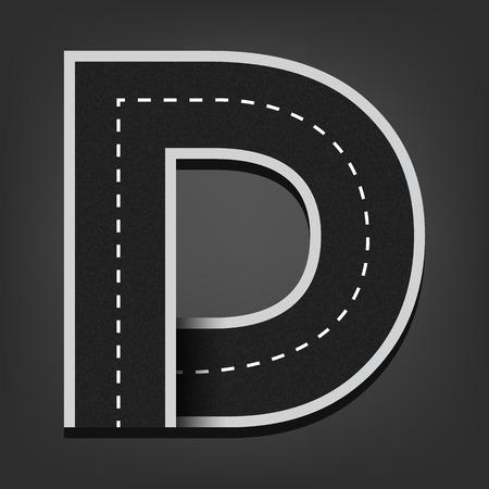 a d: D letter. Road font.
