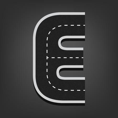 e alphabet: E letter. Road font.