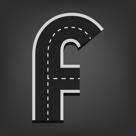 road surface: F letter. Road font.