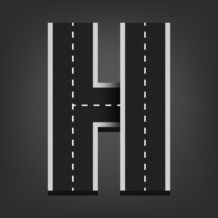road surface: H letter. Road font.
