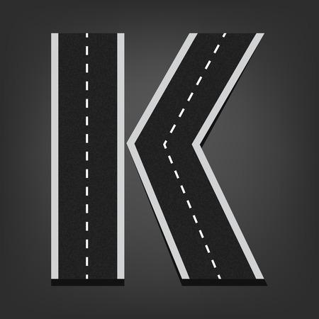 letter k: K letter. Road font. Illustration