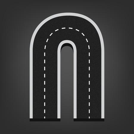 road surface: N letter. Road font.  Illustration