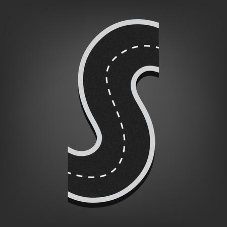 road surface: S letter. Road font.