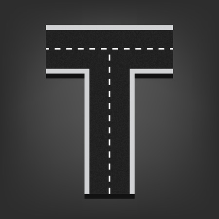 road surface: T letter. Road font.