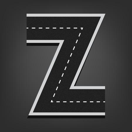 road surface: Z letter. Road font.