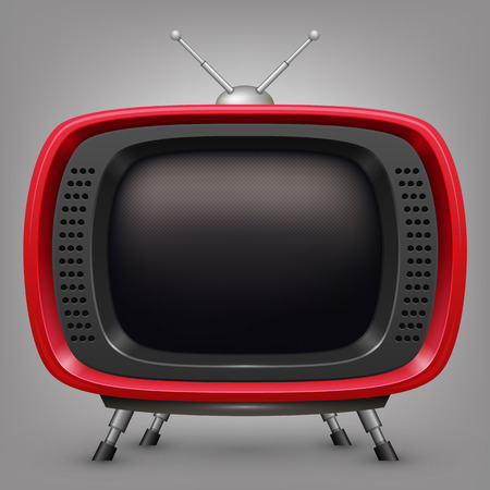 frontal view: Retro red tv. Vector illustration in eps10