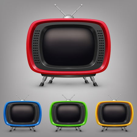 Set retro color tv.