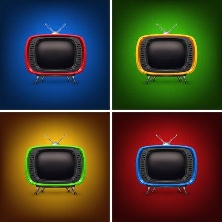 Set retro color tv with background. 일러스트