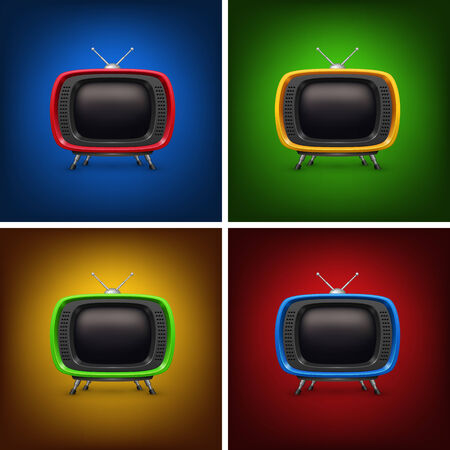 old tv: Set retro color tv with background. Illustration