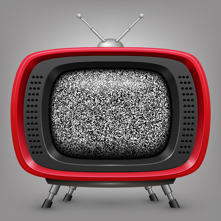 Retro red tv with noise.  Vector