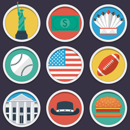 USA flat circle icon set. Vector illustration in eps10 Vector