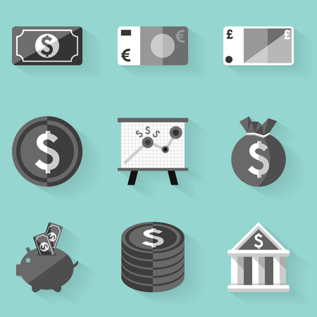 set of money: Flat icon set. Money. White style. Vector illustration in eps10