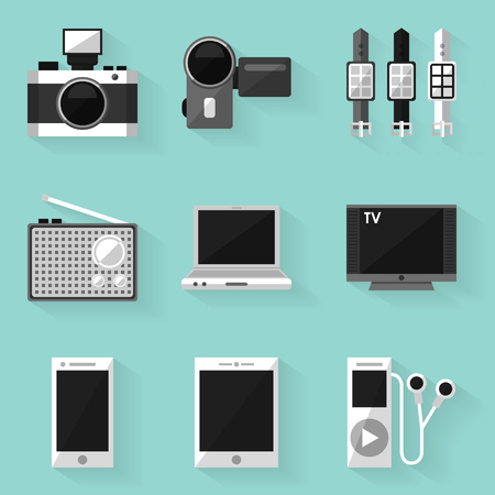 Flat icon set. Device. White style. Vector illustration in eps10 Vector