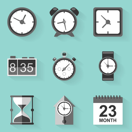 digital clock: Flat icon set. Time. Clock. White style. Vector illustration in eps10 Illustration