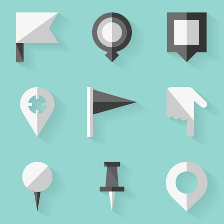flag pin: Flat icon set. Push pin map. White style. Vector illustration in eps10