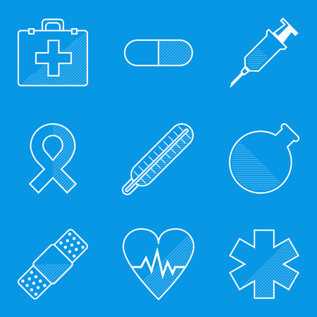 Blueprint icon set. Medical. Vector illustration in eps10 Vector