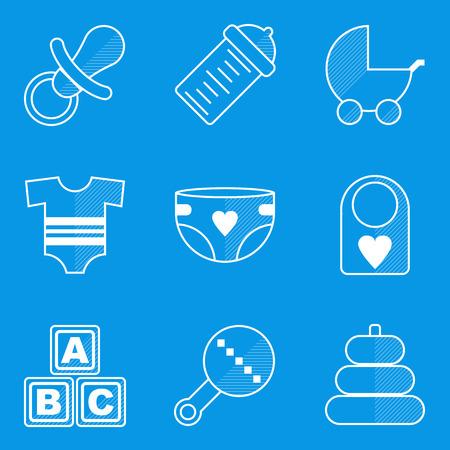 nipple: Blueprint icon set. Baby. Children. Family. Vector illustration in eps10
