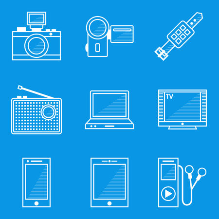 Blueprint icon set. Device. Vector illustration in eps10 Vector