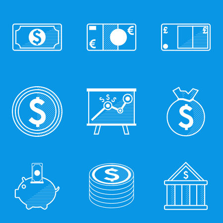 set of money: Blueprint icon set. Money. Vector illustration in eps10