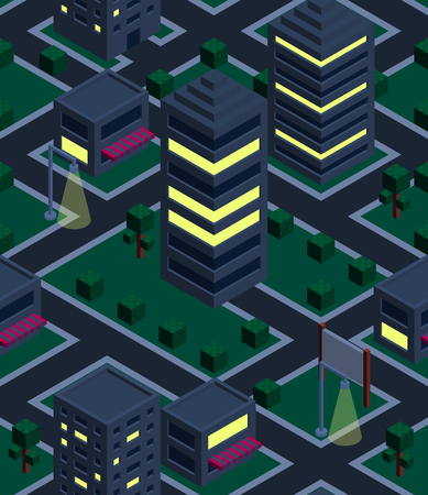 Seamless background night city. Isometric. Vector illustration in eps10 Vector