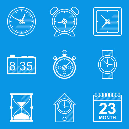 Blueprint icon set Time Vector
