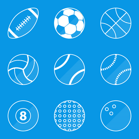 청사진 아이콘을 설정합니다. 스포츠 공입니다. 벡터 일러스트 레이션