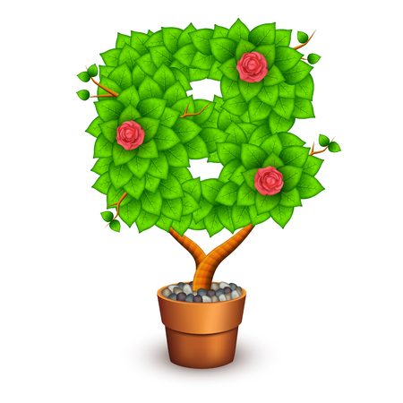 houseplant: Isolated tree with flowers in clay pot. In the form of letter B. Vector illustration in eps10 Illustration