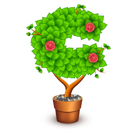 houseplant: Isolated tree with flowers in clay pot. In the form of letter C.