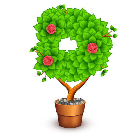 houseplant: Isolated tree with flowers in clay pot. In the form of letter D. Vector illustration in eps10