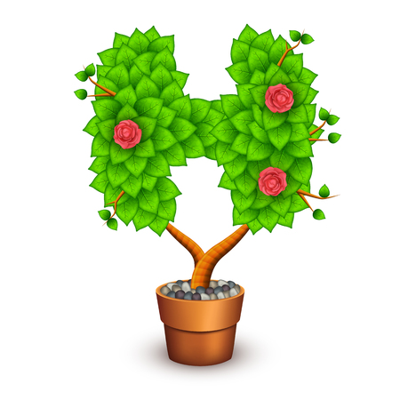 clay pot: Isolated tree with flowers in clay pot. In the form of letter H. Illustration