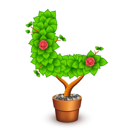 clay pot: Isolated tree with flowers in clay pot. In the form of letter L.