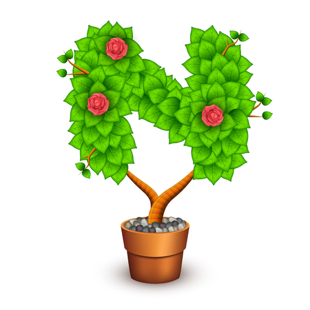 clay pot: Isolated tree with flowers in clay pot. In the form of letter N.