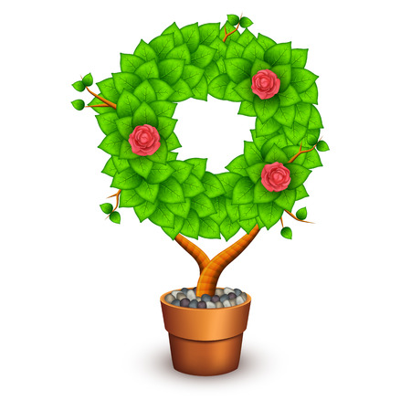 houseplant: Isolated tree with flowers in clay pot. In the form of letter O.  Illustration