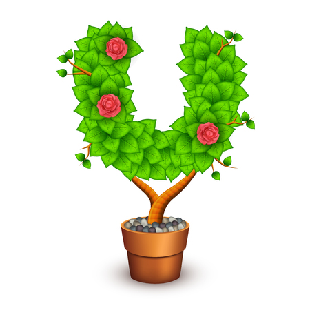 clay pot: Isolated tree with flowers in clay pot. In the form of letter U.