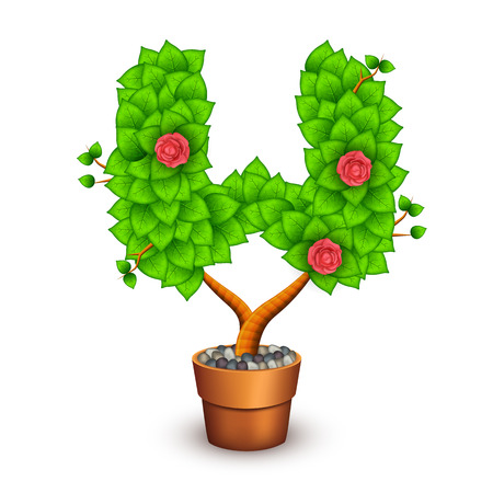clay pot: Isolated tree with flowers in clay pot. In the form of letter W.