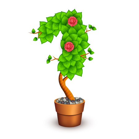 clay pot: Isolated tree with flowers in clay pot. In the form of number 1.  Illustration