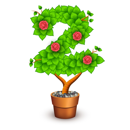 clay pot: Isolated tree with flowers in clay pot. In the form of number 2.