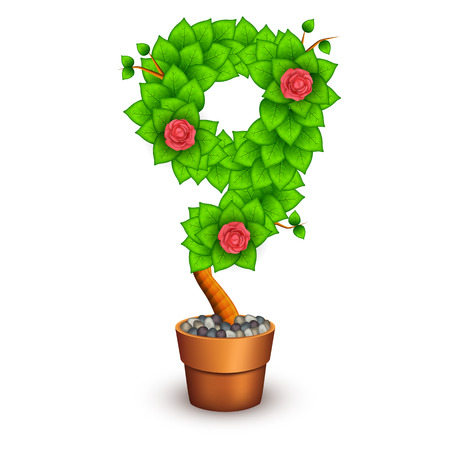 clay pot: Isolated tree with flowers in clay pot. In the form of number 9.  Illustration