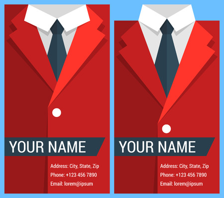 formal shirt: Flat business card template with red jacket. Illustration
