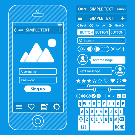 UI elements blueprint design vector kit in trendy color with simple mobile phone, buttons, forms, windows and other interface elements.