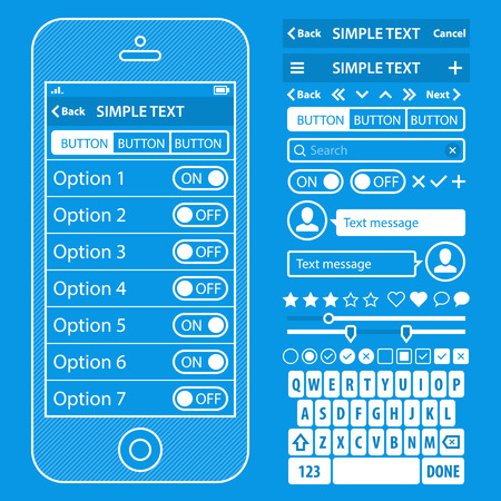 UI elements blueprint design vector kit in trendy color with simple mobile phone, buttons, forms, windows and other interface elements. Settings screens.