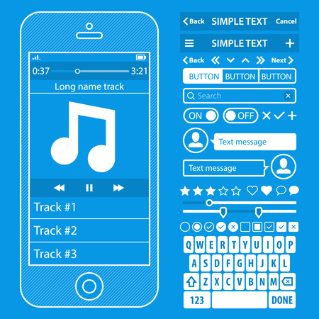 UI elements blueprint design vector kit in trendy color with simple mobile phone, buttons, forms, windows and other interface elements.  Vector