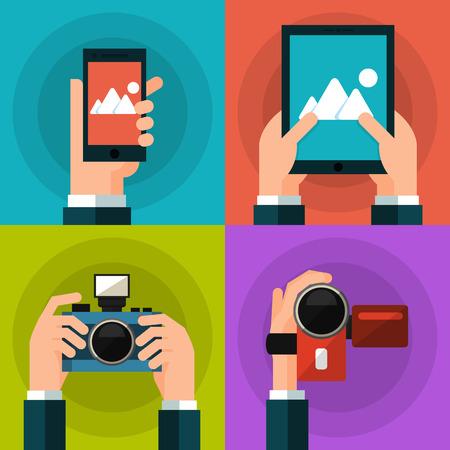 스마트 폰, 태블릿, 비디오 및 사진 카메라를 들고 손을 설정합니다. 플랫 스타일. EPS10 벡터 일러스트 레이 션